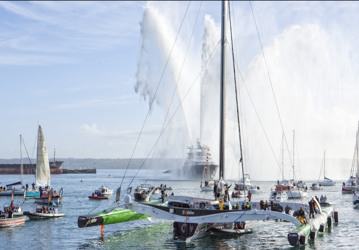 Thomas Coville (FRA) and his 31m maxi trimaran Sodebo Ultim' has successfully broken the solo round the world record