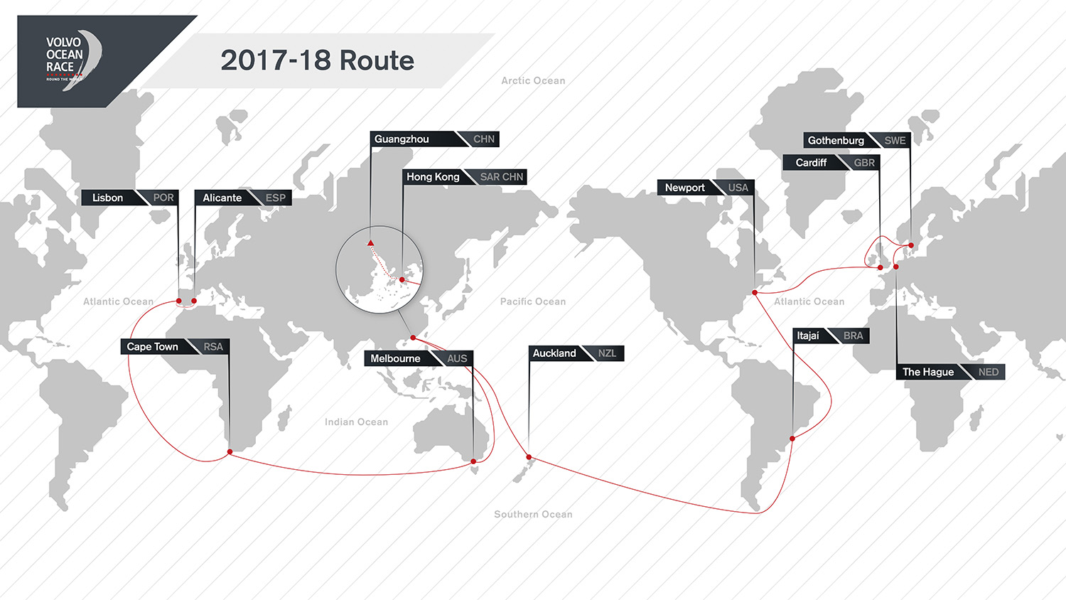 The latest version of the Volvo Ocean Race 2017-18 Route Map. The route will see the boats race three times more Southern Ocean miles than in recent editions, visiting 12 cities around the globe..