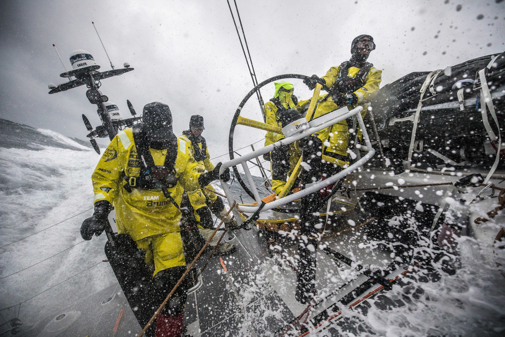 Leg 3, Cape Town to Melbourne, day 04, on board Brunel, Alberto Bolzan at the helm, Kyle Langford at the aft pedestal, in the background Carlo Huisman and Bouwe Bekking. Photo by Ugo Fonolla/Volvo Ocean Race. 13 December, 2017.